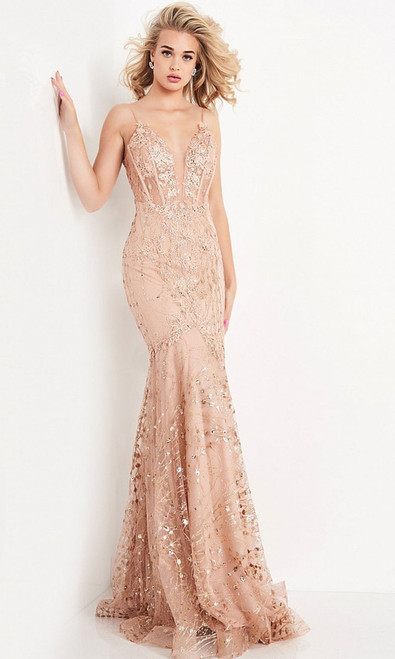 Jovani Prom JVN05788 Lace Embellished Trumpet Dress