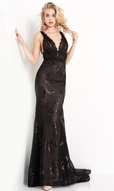 Jovani Prom JVN05798 Lace Detailed Strappy Back Trumpet Gown