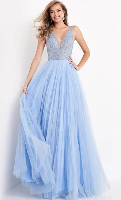 Jovani Prom JVN05818 Embellished Deep V Neck A-Line Gown