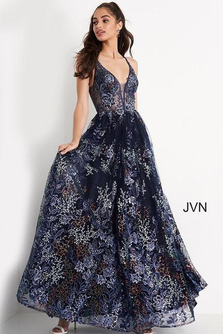 Jovani Prom JVN06457 Floral V Neck Sequin Sheer A Line Corset Dress