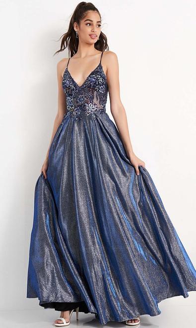 Jovani Prom JVN06465 Embellished V Neck A-Line Gown