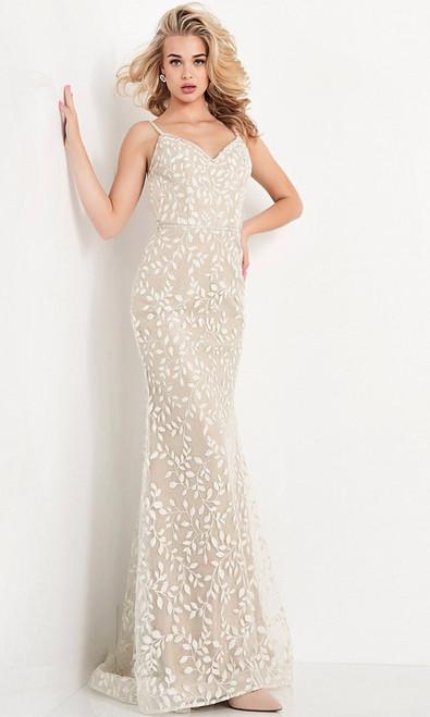 Jovani Prom JVN06472 Embroidered V Neck Evening Gown