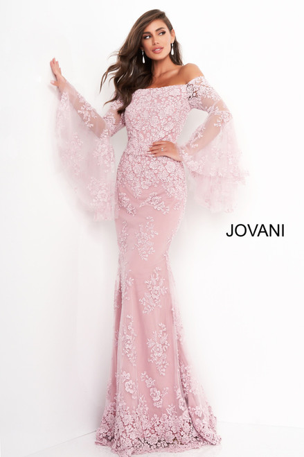 Jovani 02570 Long Bell Sleeve Mother of Bride Dress