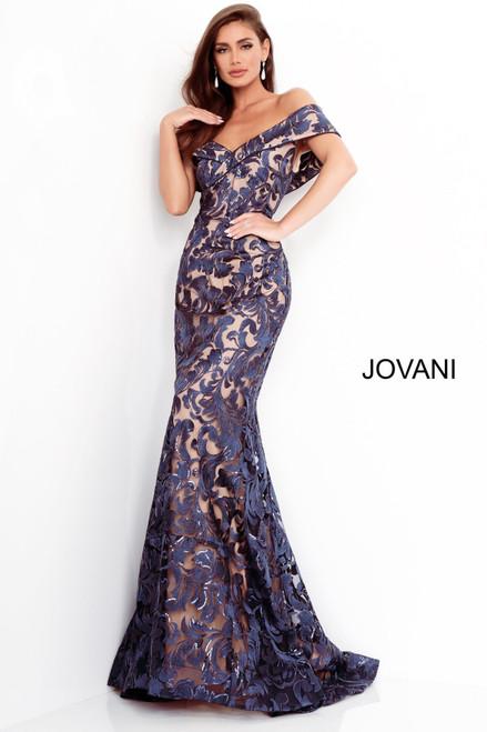 Jovani 02912 Lace Off Shoulder Evening Gown