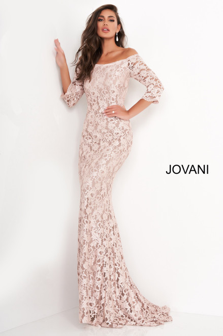 Jovani 03349 Boat Neckline Lace Evening Dress