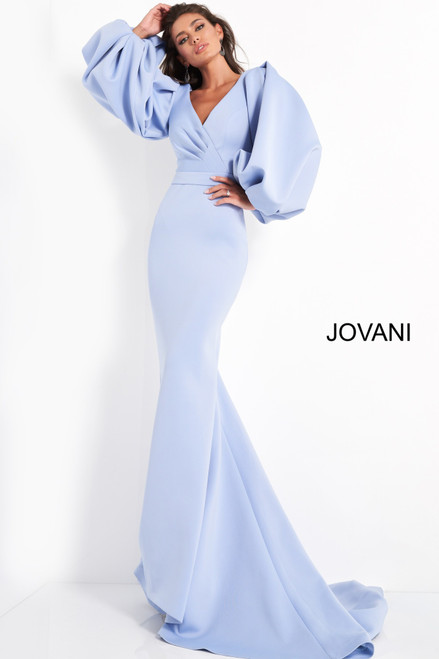 Jovani 04371 Long Puff Sleeve Evening Dress