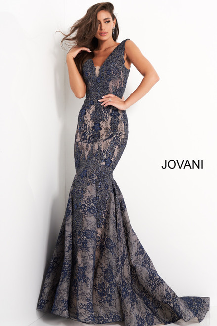 Jovani 04585 Lace V Neck Mermaid Evening Dress
