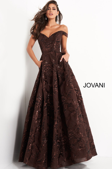 Jovani 05017 Pleated A Line Evening Gown