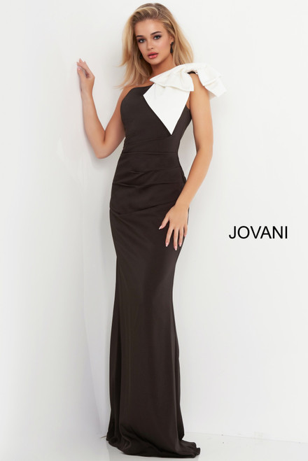 Jovani 4353 One Shoulder Bow Evening Dress