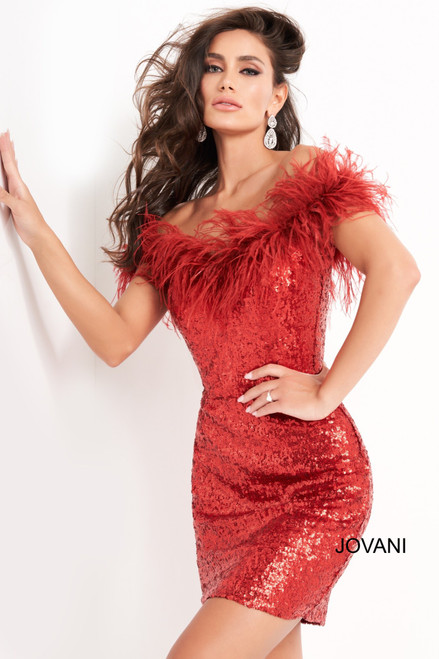 Jovani 06167 Feather Neckline Homecoming Dress