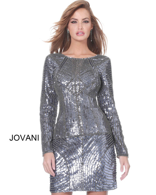 Jovani 00063 Long Sleeve Fitted Cocktail Dress