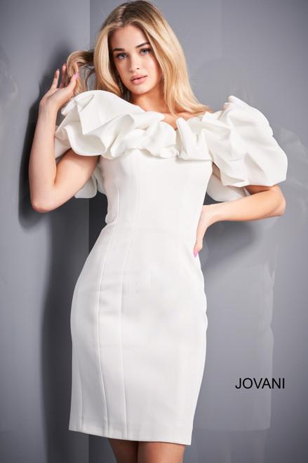 Jovani 04367 Off Shoulder Ruffle Neckline Cocktail Dress
