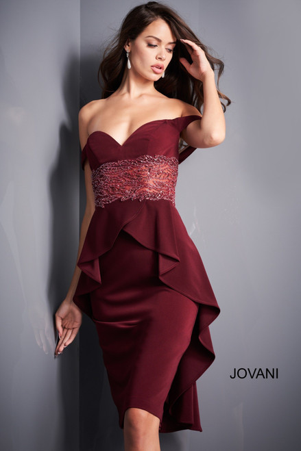 Jovani 04461 Off Shoulder Cocktail Dress