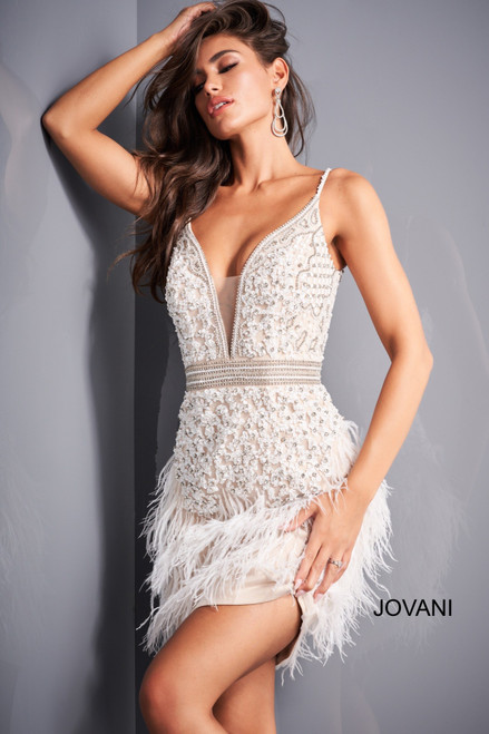 Jovani 04624 Beaded Feather Cocktail Dress