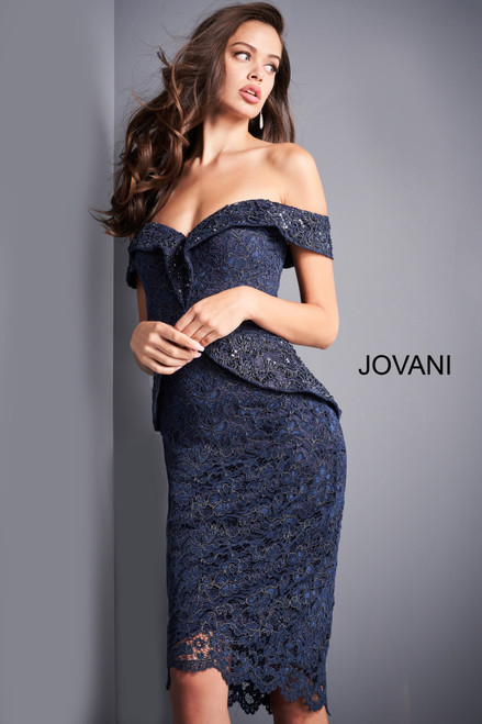 Jovani 05060 Off Shoulder Knee Length Evening Dress