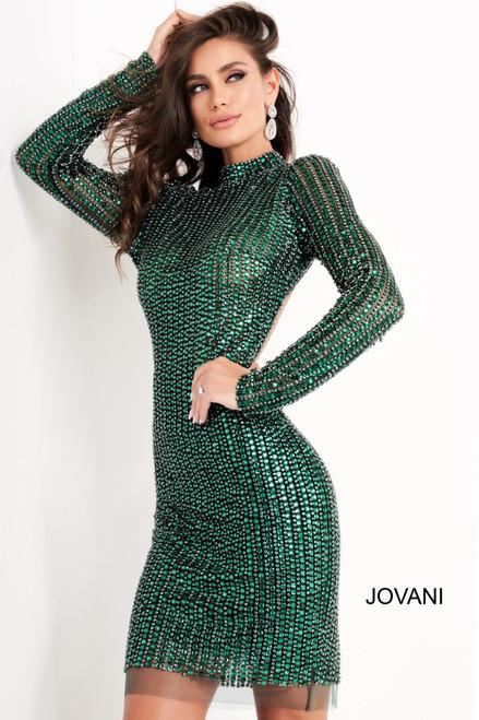 Jovani 1740 Long Sleeve Embellished Short Dress