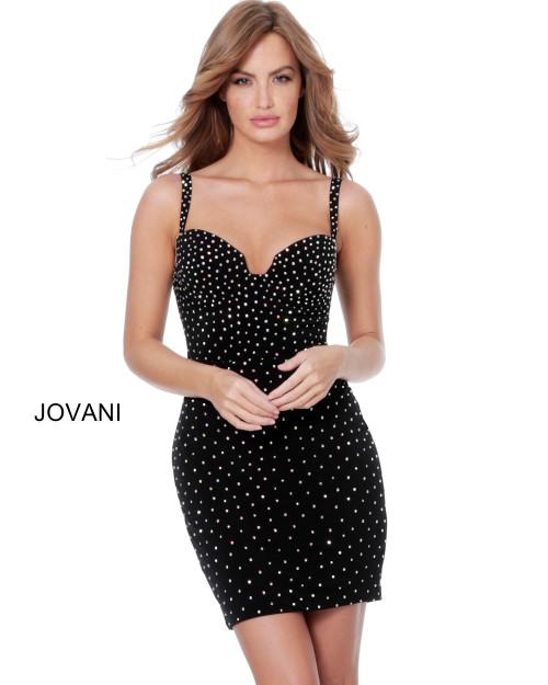 Jovani 4727 Beaded Velvet Cocktail Dress