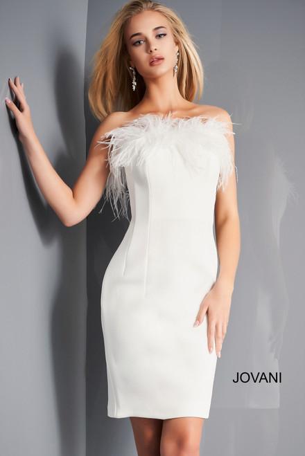 Jovani 65889 Strapless Feather Neckline Cocktail Dress