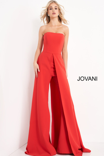 Jovani 03529 Strapless Wide Leg Jumpsuit