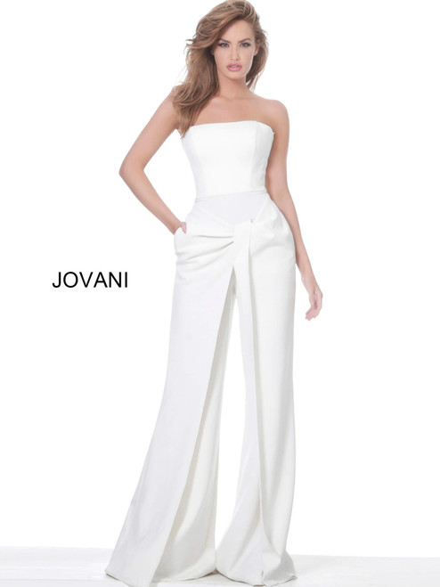 Jovani 03828 Strapless Wide Leg Evening Jumpsuit