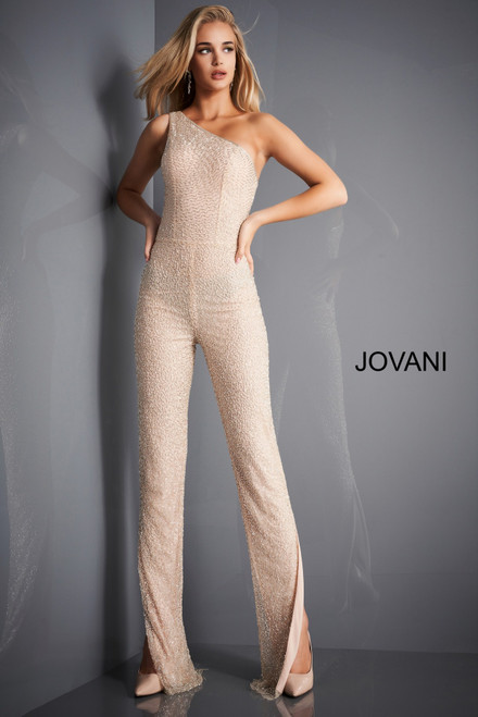 Jovani 3816 One Shoulder Beaded Jumpsuit