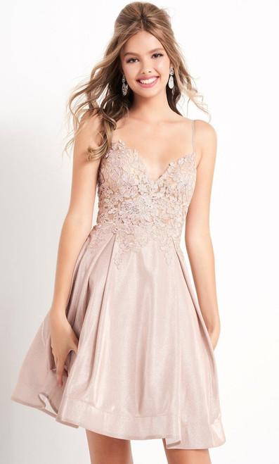 Jovani JVN04010 Sleeveless V Neck Embroidered A-line Dress