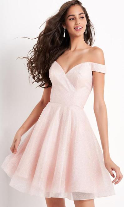 Jovani JVN04639 Off Shoulder Glitter A-line Dress