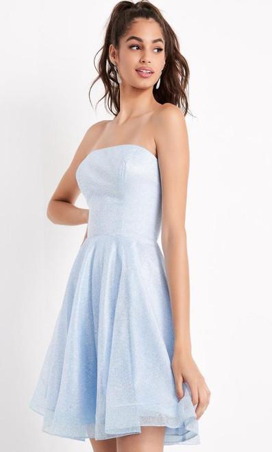 Jovani JVN04640 Strapless Straight-across Glitter A-line Dress