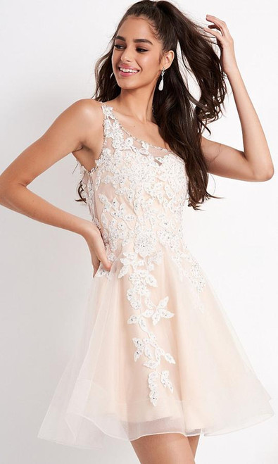 Jovani JVN04705 Embroidered Asymmetric A-line Cocktail Dress