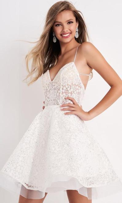 Jovani JVN04709 Strappy Bare Back Lace Fit and Flare Short Dress