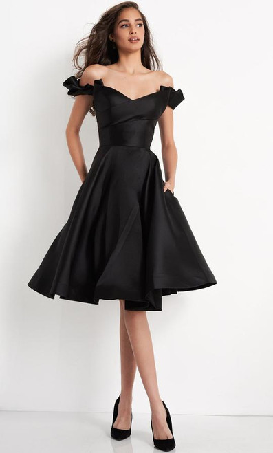 Jovani JVN04718 Ruffled Off-shoulder Sleeve A-line Cocktail Dress