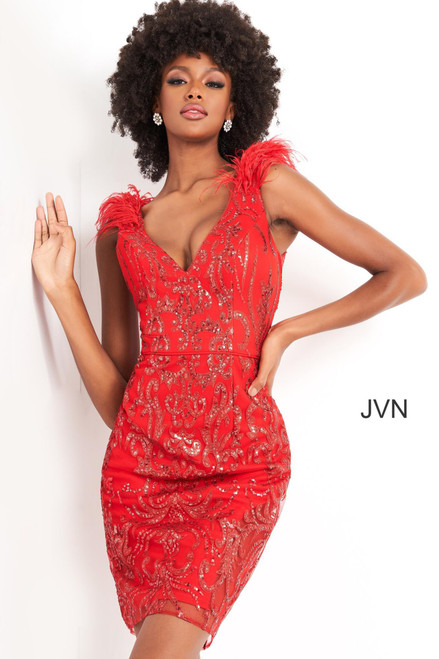 Jovani JVN04760 Short Fitted Sequin Feather Cap Cocktail Dress