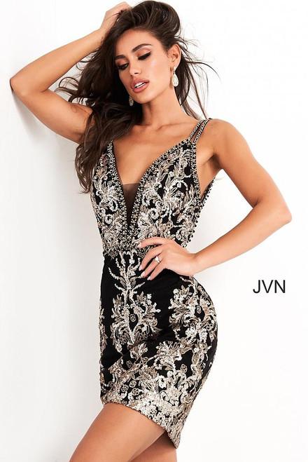 Jovani JVN04790 Short Fitted Black Gold Sequin Cocktail Dress