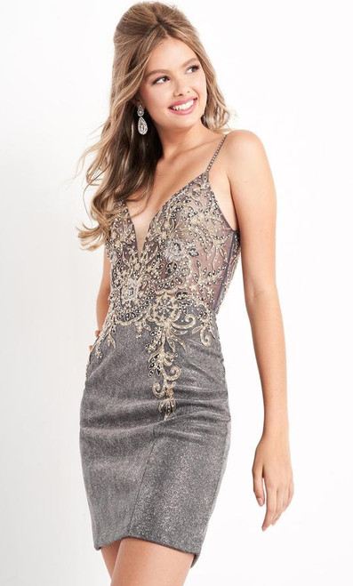 Jovani JVN05412 Spaghetti Strap Embroidered Sheath Dress