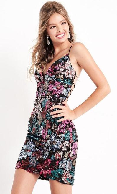 Jovani JVN05736 Strappy Sequined V Neck Dress