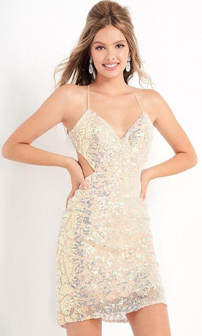 Jovani JVN05740 V Neck Embellished Open Back Dress