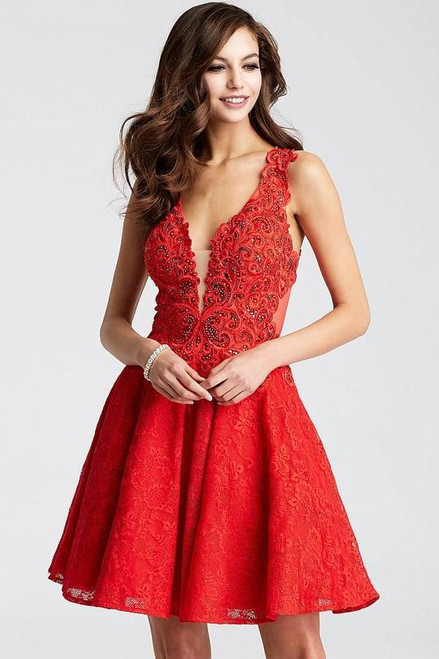 Jovani JVN45264 Lace V-neck A-line Dress