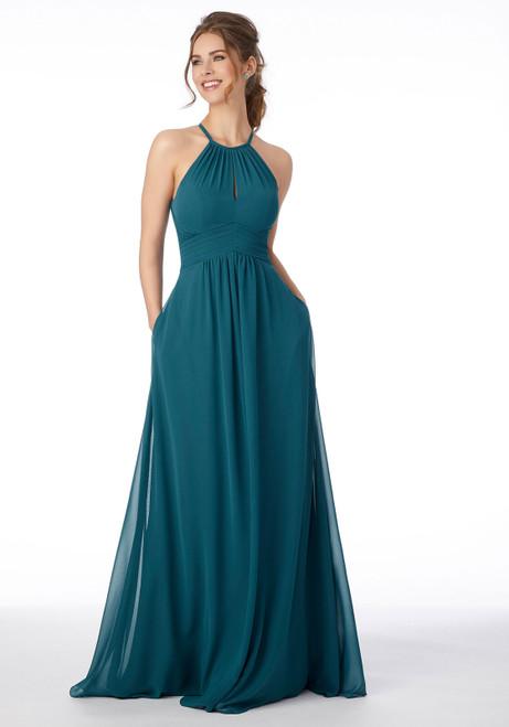 Morilee 21695 High Neck Keyhole Back Bridesmaid Dress