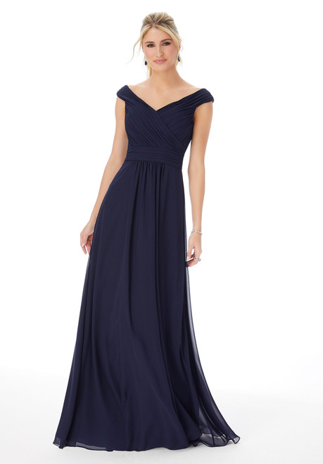 Morilee 13102 Off The Shoulder Chiffon Bridesmaid Dress