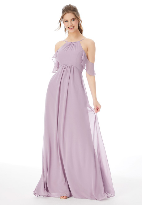 Morilee 13107 Cold Shoulder Sleeve Chiffon Bridesmaid Dress