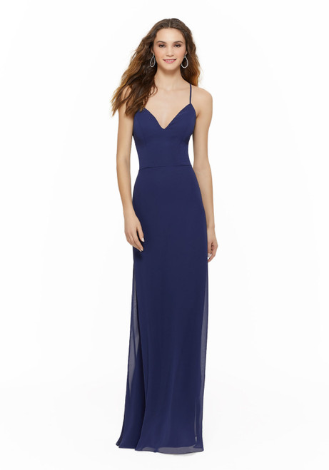 Morilee 21634 Deep V-Neck Chiffon Bridesmaid Dress