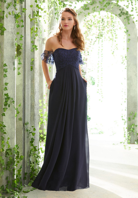 Morilee 21617 Off Shoulder Chiffon Bridesmaid Dress
