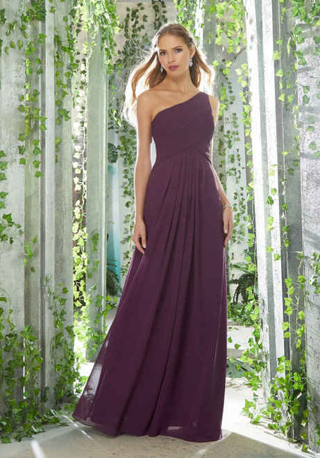Morilee 21619 One Shoulder Chiffon Bridesmaid Dress