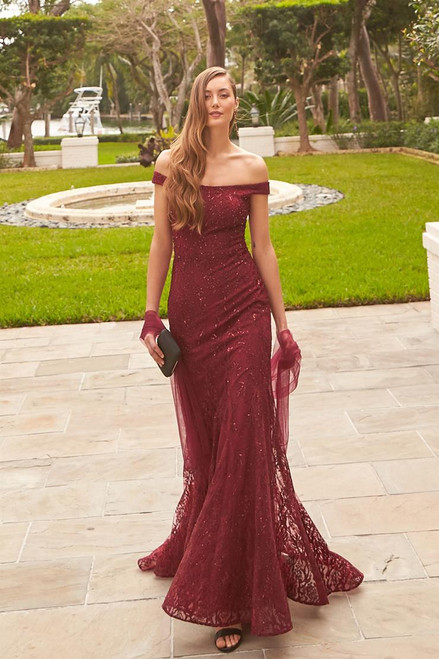 Ivonne D by Mon Cheri 220D22 Embroidered Off Shoulder Gown