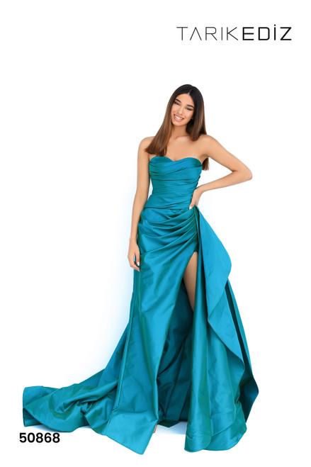 Tarik Ediz 50868 Strapless Sweetheart Pleated Bodice Gown