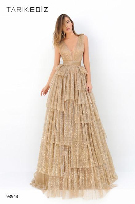 Tarik Ediz 93943 Deep V-neck Layered Sleeveless A-line Dress