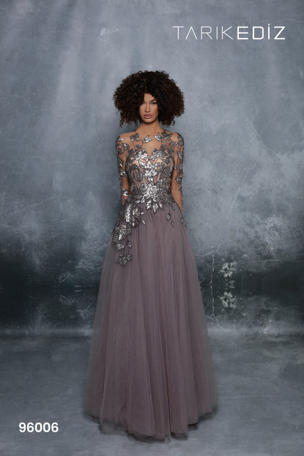 Tarik Ediz 96006 Sequined Long Sleeve A-line Gown