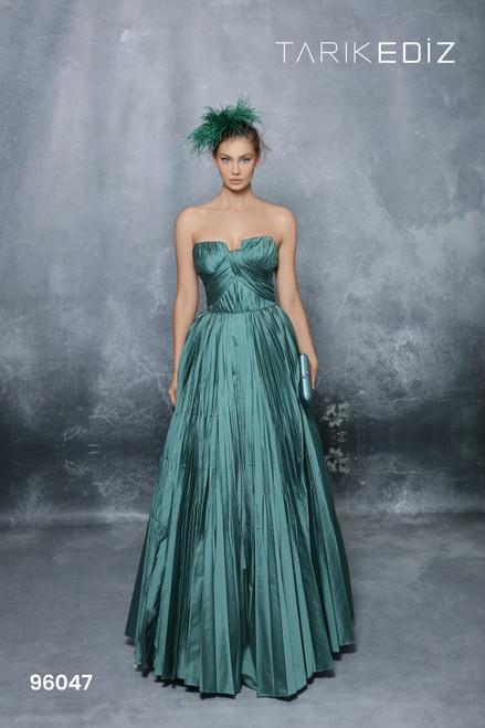 Tarik Ediz 96047 Strapless Ruched Pleated Taffeta Long Gown