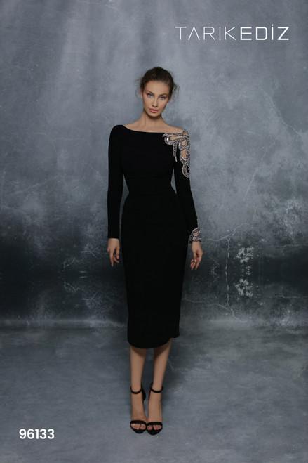 Tarik Ediz 96133 Embellished Long Sleeve Fitted Sheath Dress