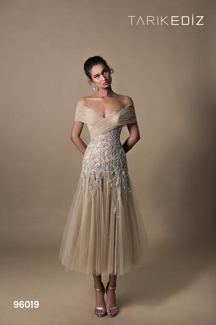 Tarik Ediz 96019 Embroidered Off Shoulder Tulle A-line Dress